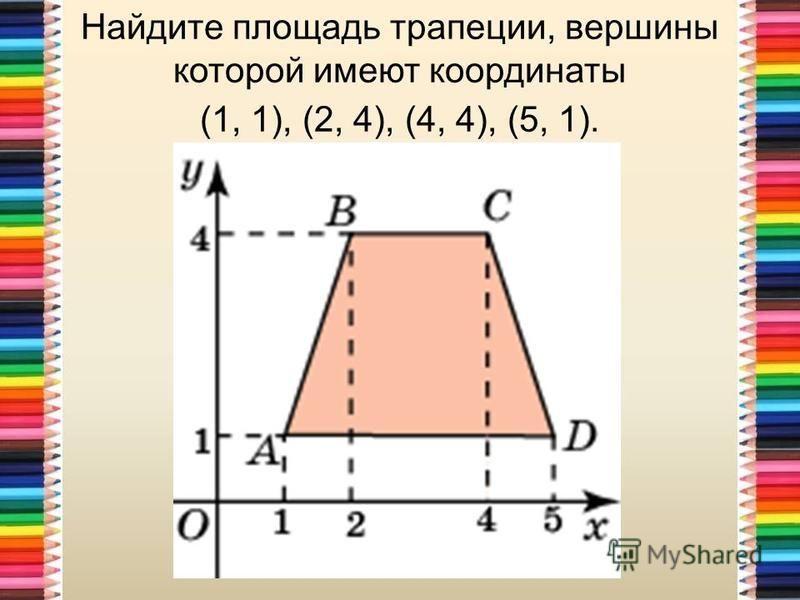 Найдите площадь трапеции, вершины которой имеют координаты (1, 1), (2, 4), (4, 4), (5, 1).