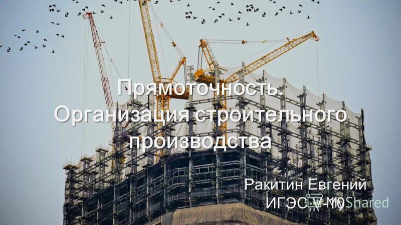 Прямоточность. Организация строительного производства Ракитин Евгений ИГЭС V-10