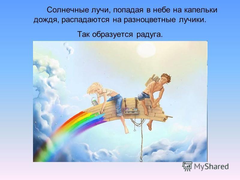 Солнечные лучи, попадая в небе на капельки дождя, распадаются на разноцветные лучики. Так образуется радуга.