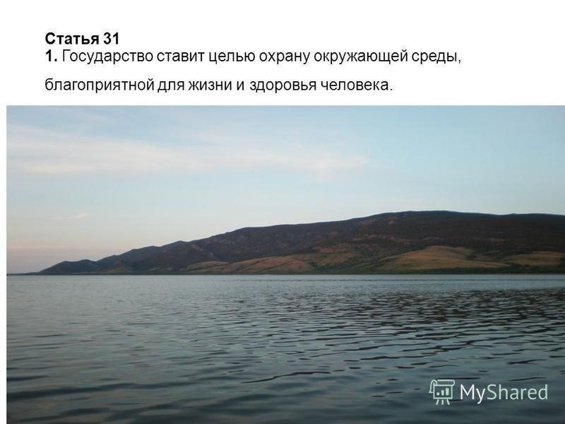 Статья 31 1. Государство ставит целью охрану окружающей среды, благоприятной для жизни и здоровья человека.