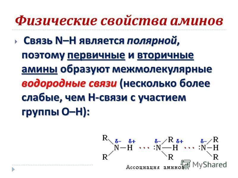 Физические свойства аминов Связь N–H является полярной, поэтому первичные и вторичные амины образуют межмолекулярные водородные связи ( несколько более слабые, чем Н - связи с участием группы О – Н ):