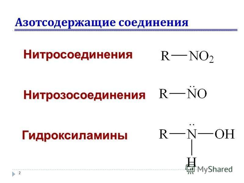 Азотсодержащие соединения 2 Нитросоединения Нитрозосоединения Гидроксиламины