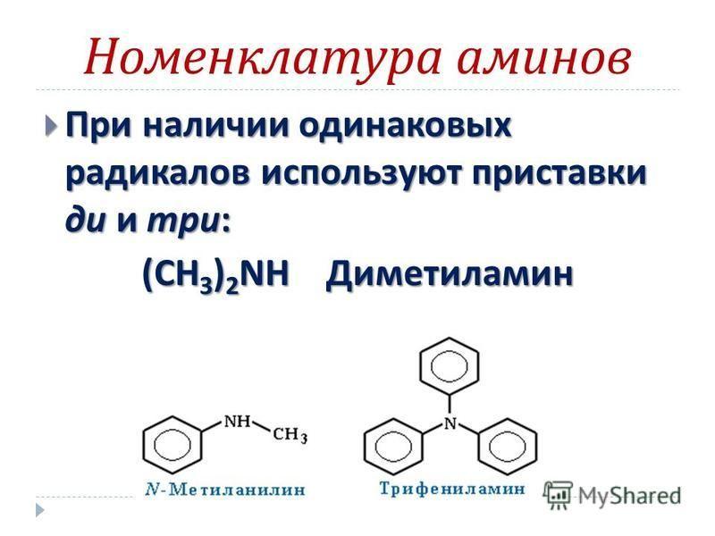 Номенклатура аминов При наличии одинаковых радикалов используют приставки ди и три : При наличии одинаковых радикалов используют приставки ди и три : (CH 3 ) 2 NH Диметиламин (CH 3 ) 2 NH Диметиламин