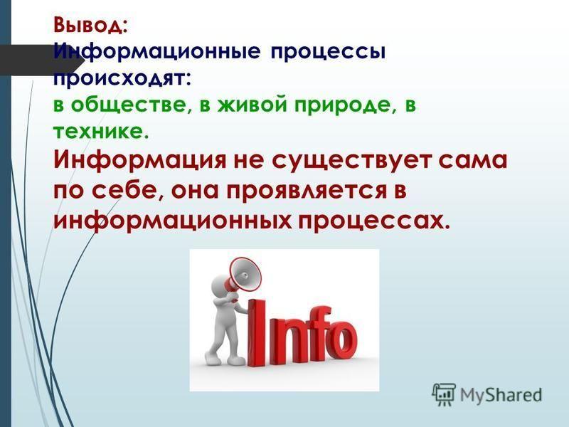 Вывод: Информационные процессы происходят: в обществе, в живой природе, в технике. Информация не существует сама по себе, она проявляется в информационных процессах.