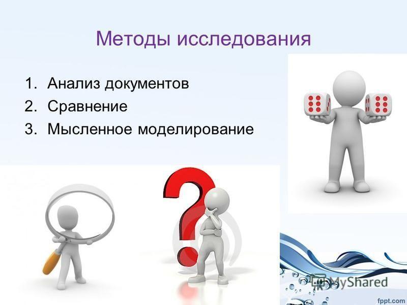 Методы исследования 1. Анализ документов 2. Сравнение 3. Мысленное моделирование