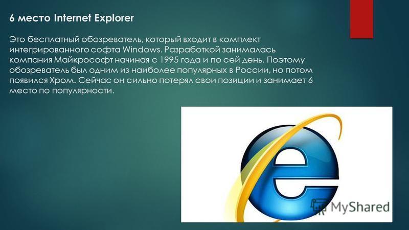6 место Internet Explorer Это бесплатный обозреватель, который входит в комплект интегрированного софта Windows. Разработкой занималась компания Майкрософт начиная с 1995 года и по сей день. Поэтому обозреватель был одним из наиболее популярных в Рос