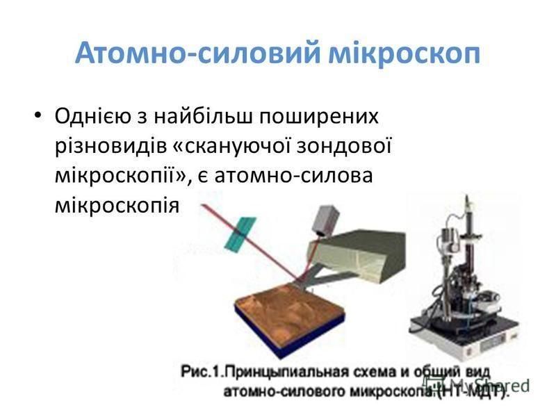 Атомно-силовий мікроскоп Однією з найбільш поширених різновидів «скануючої зондової мікроскопії», є атомно-силова мікроскопія