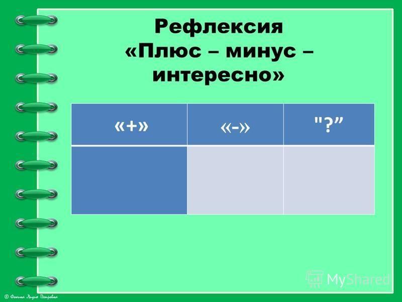 © Фокина Лидия Петровна Рефлексия «Плюс – минус – интересно» «+» «-» ?