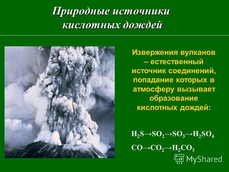 Природные источники кислотных дождей Извержения вулканов – естественный источник соединений, попадание которых в атмосферу вызывает образование кислотных дождей: H 2 SSO 2 SO 3 H 2 SO 4 CO CO 2 H 2 CO 3