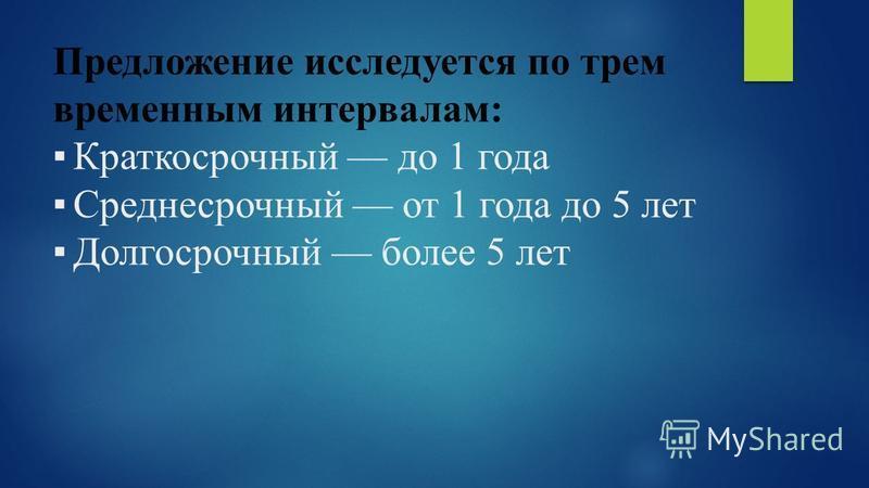 Предложение исследуется по трем временным интервалам: Краткосрочный до 1 года Среднесрочный от 1 года до 5 лет Долгосрочный более 5 лет