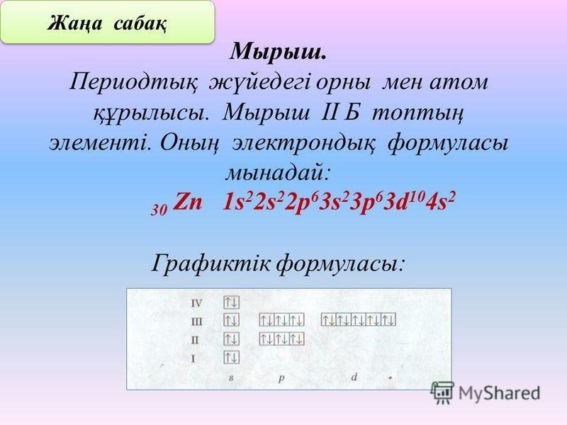 Мырыш. Периодтық жүйедегі орны мен атом құрылысы. Мырыш ІІ Б топтың элементі. Оның электрондық формуласы мы надай: 30 Zn 1s 2 2s 2 2p 6 3s 2 3p 6 3d 10 4s 2 Графиктік формуласы: Жаңа сабақ