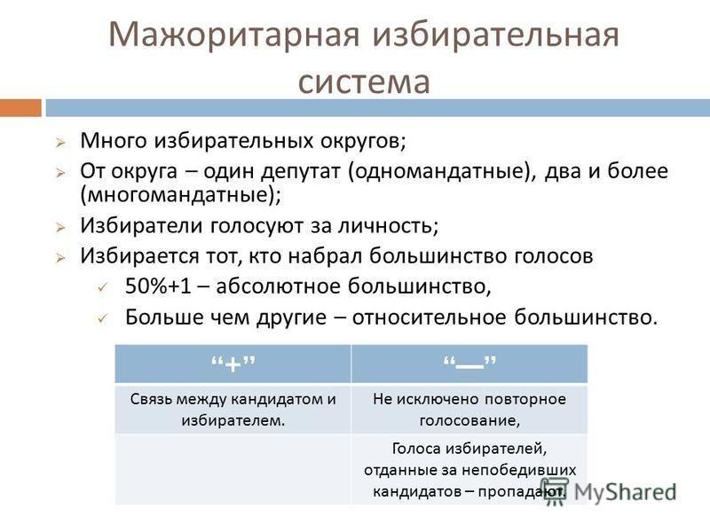 Мажоритарная избирательная система Много избирательных округов ; От округа – один депутат ( одномандатные ), два и более ( многомандатные ); Избиратели голосуют за личность ; Избирается тот, кто набрал большинство голосов 50%+1 – абсолютное большинст