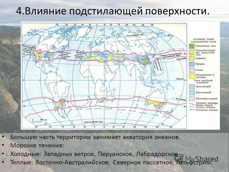 4. Влияние подстилающей поверхности. Большую часть территории занимает акватория океанов. Морские течения: Холодные: Западных ветров, Перуанское, Лабрадорское Теплые: Восточно-Австралийское, Северное пассатное, Гольфстрим.