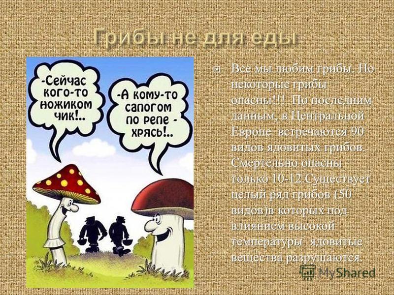 Все мы любим грибы. Но некоторые грибы опасны !!! По последним данным, в Центральной Европе встречаются 90 видов ядовитых грибов. Смертельно опасны только 10-12. Существует целый ряд грибов (50 видов ) в которых под влиянием высокой температуры ядови