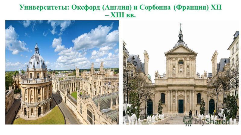 Университеты: Оксфорд (Англия) и Сорбонна (Франция) XII – XIII вв.