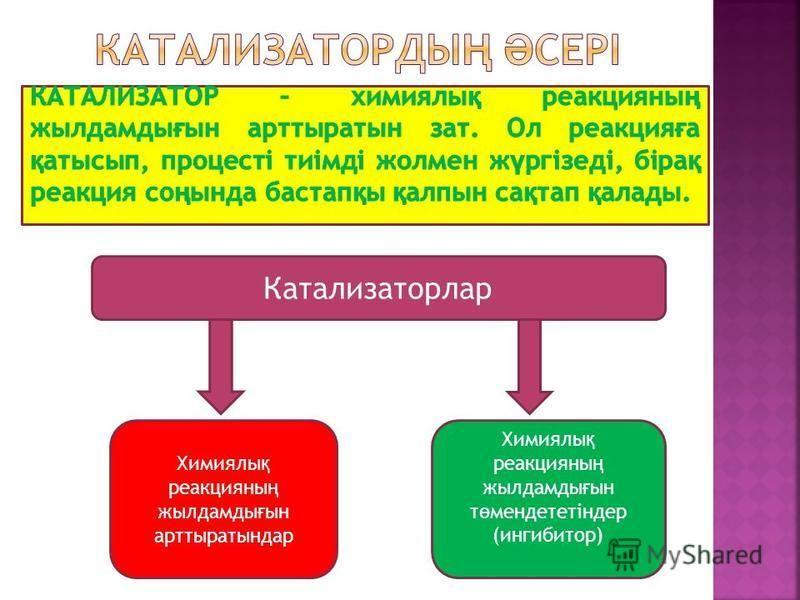 Катализаторлар Химиялы қ реакцияны ң жылдамды ғ ын арттыратындар Химиялы қ реакцияны ң жылдамды ғ ын т ө мендететіндер (ингибитор)