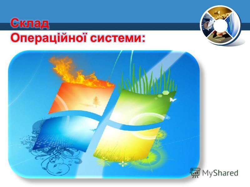 Програмний модуль, керуючий файловою системою; Командний процесор, виконуючий команди користувача; Драйвери пристроїв; Програмні модулі, що забезпечують графічний користувацький інтерфейс; Сервісні програми; Довідкова система.