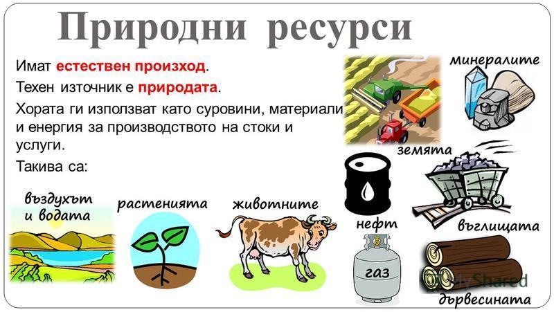Природни ресурси Имат естествен произход. Техен източник е природата. Хората ги използват като суровини, материали и енергия за производството на стоки и услуги. Такива са: