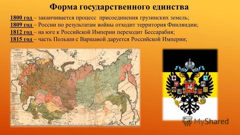 Форма государственного единства 1800 год – заканчивается процесс присоединения грузинских земель; 1809 год – России по результатам войны отходит территория Финляндии; 1812 год – на юге к Российской Империи переходит Бессарабия; 1815 год – часть Польш