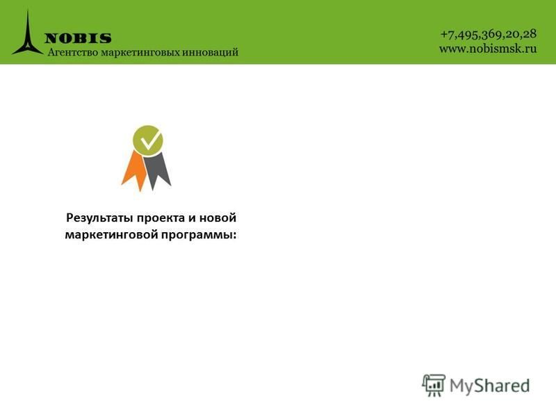 Результаты проекта и новой маркетинговой программы: