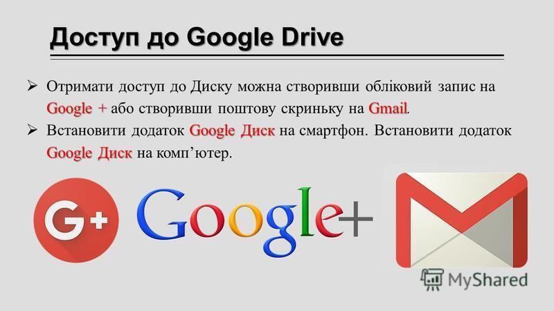 Доступ до Google Drive Google +Gmail Отримати доступ до Диску можна створивши обліковий запис на Google + або створивши поштову скриньку на Gmail. Google Диск Google Диск Встановити додаток Google Диск на смартфон. Встановити додаток Google Диск на к