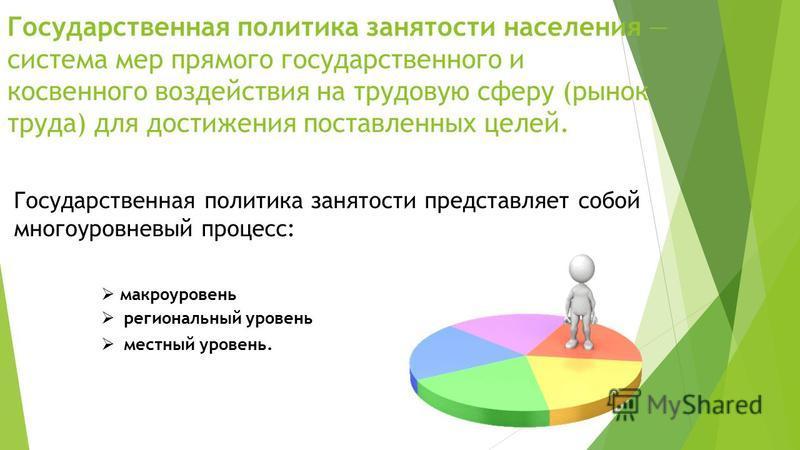 Государственная политика занятости населения система мер прямого государственного и косвенного воздействия на трудовую сферу (рынок труда) для достижения поставленных целей. Государственная политика занятости представляет собой многоуровневый процесс