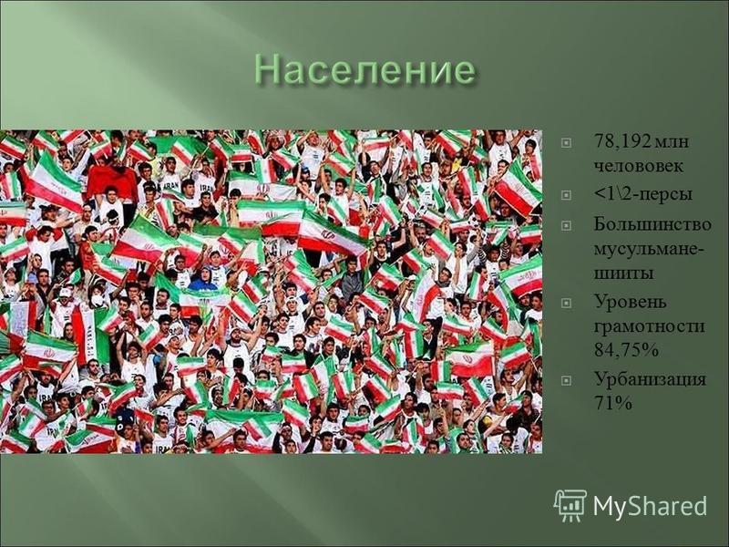 78,192 млн человек <1\2- персы Большинство мусульмане - шииты Уровень грамотности 84,75% Урбанизация 71%