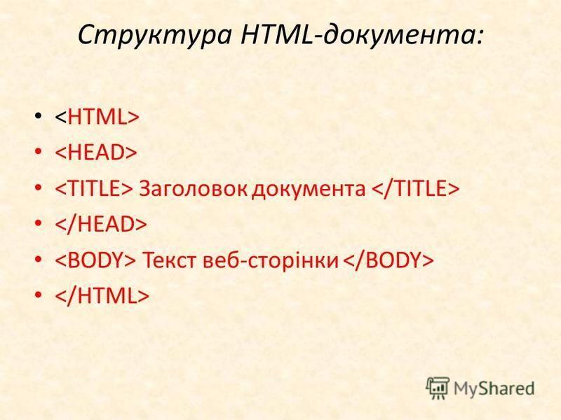 Структура HTML-документа: Заголовок документа Текст веб-сторінки