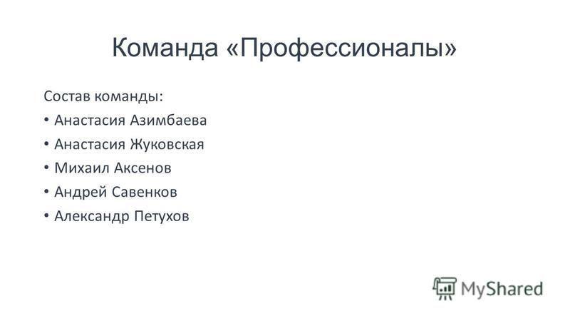 Команда «Профессионалы» Состав команды: Анастасия Азимбаева Анастасия Жуковская Михаил Аксенов Андрей Савенков Александр Петухов