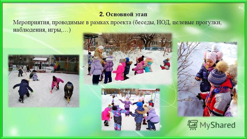 Мероприятия, проводимые в рамках проекта (беседы, НОД, целевые прогулки, наблюдения, игры,…) 2. Основной этап