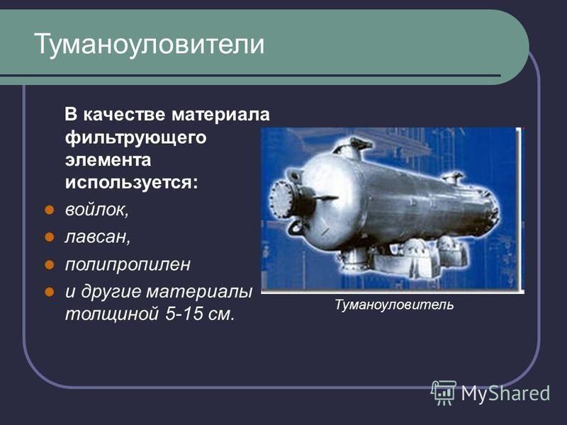 Туманоуловители В качестве материала фильтрующего элемента используется: войлок, лавсан, полипропилен и другие материалы толщиной 5-15 см. Туманоуловитель