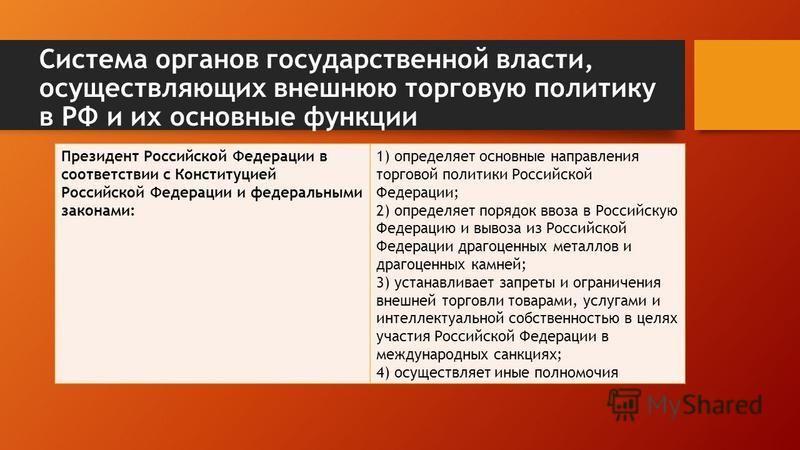 Система органов государственной власти, осуществляющих внешнюю торговую политику в РФ и их основные функции Президент Российской Федерации в соответствии с Конституцией Российской Федерации и федеральными законами: 1) определяет основные направления
