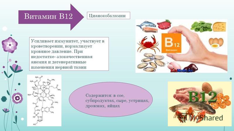 Витамин В12 Усиливает иммунитет, участвует в кроветворении, нормализует кровяное давление. При недостатке- злокачественная анемия и дегенеративные изменения нервной ткани Содержится: в сое, субпродуктах, сыре, устрицах, дрожжах, яйцах Цианокобаламин