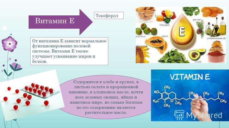 Содержится в хлебе и крупах, в листьях салата и проращенной пшенице, в хлопковом масле, почти всех зеленых овощах, яйцах и животном жире, но самым богатым по его содержанию является растительное масло. Витамин Е От витамина Е зависит нормальное функц