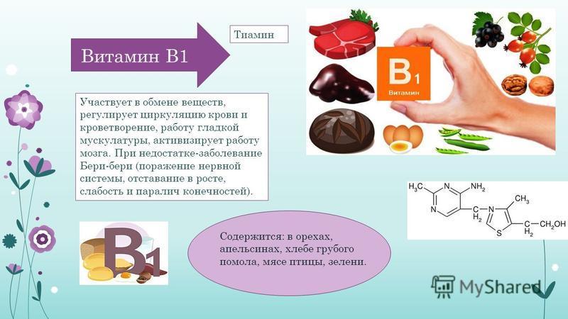 Витамин В1 Участвует в обмене веществ, регулирует циркуляцию крови и кроветворение, работу гладкой мускулатуры, активизирует работу мозга. При недостатке-заболевание Бери-бери (поражение нервной системы, отставание в росте, слабость и паралич конечно