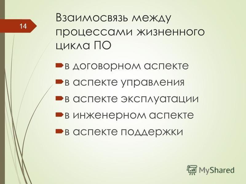 Взаимосвязь между процессами жизненного цикла ПО в договорном аспекте в аспекте управления в аспекте эксплуатации в инженерном аспекте в аспекте поддержки 14