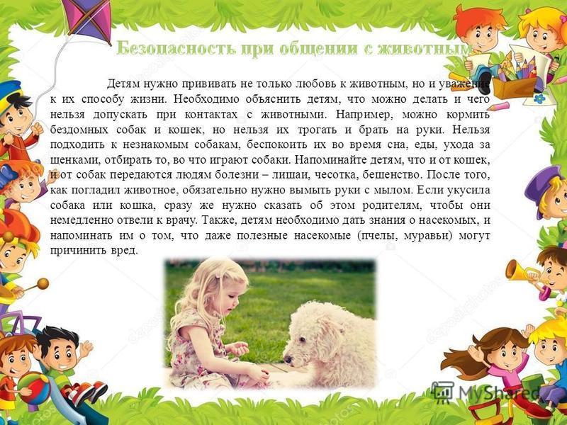 Детям нужно прививать не только любовь к животным, но и уважение к их способу жизни. Необходимо объяснить детям, что можно делать и чего нельзя допускать при контактах с животными. Например, можно кормить бездомных собак и кошек, но нельзя их трогать