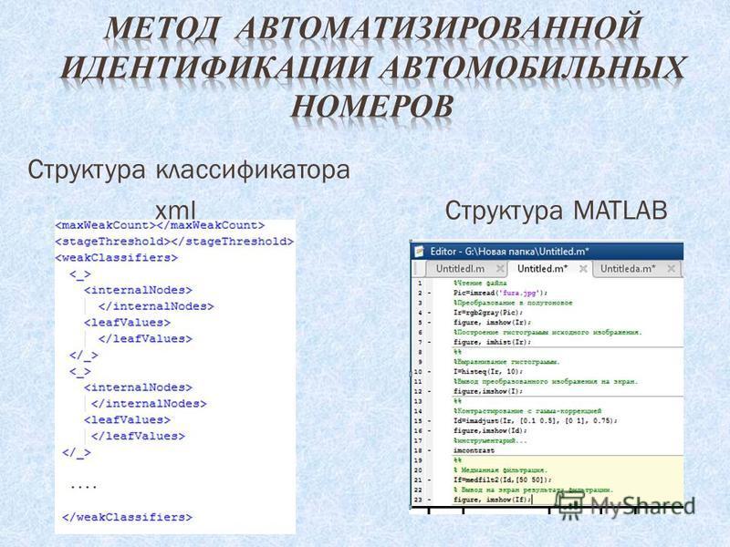 Структура классификатора xml Структура MATLAB