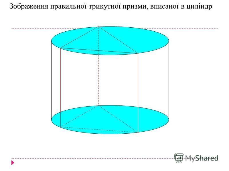 Зображення правильної трикутної призми, вписаної в циліндр