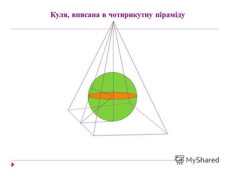 Куля, вписана в чотирикутну піраміду