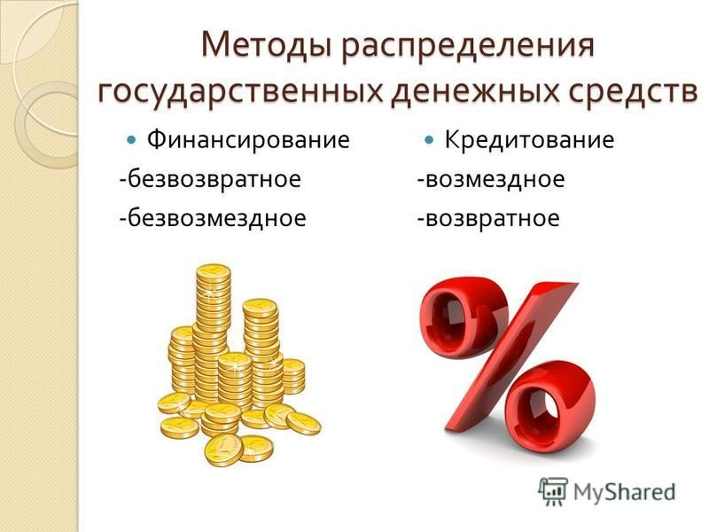 Методы распределения государственных денежных средств Финансирование - безвозвратное - безвозмездное Кредитование - возмездное - возвратное
