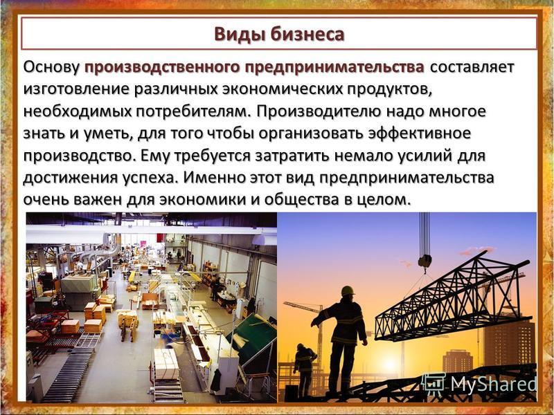 Виды бизнеса Основу производственного предпринимательства составляет изготовление различных экономических продуктов, необходимых потребителям. Производителю надо многое знать и уметь, для того чтобы организовать эффективное производство. Ему требуетс