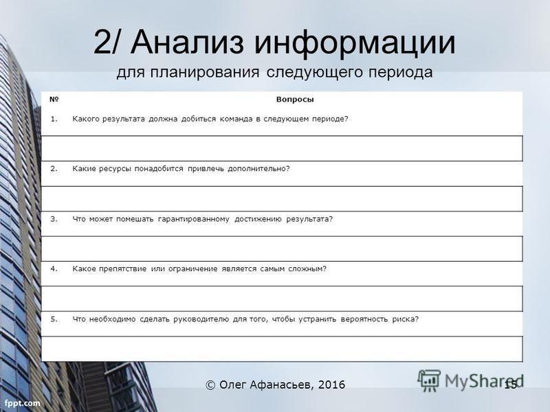 2/ Анализ информации для планирования следующего периода © Олег Афанасьев, 201615 Вопросы 1. Какого результата должна добиться команда в следующем периоде? 2. Какие ресурсы понадобится привлечь дополнительно? 3. Что может помешать гарантированному до
