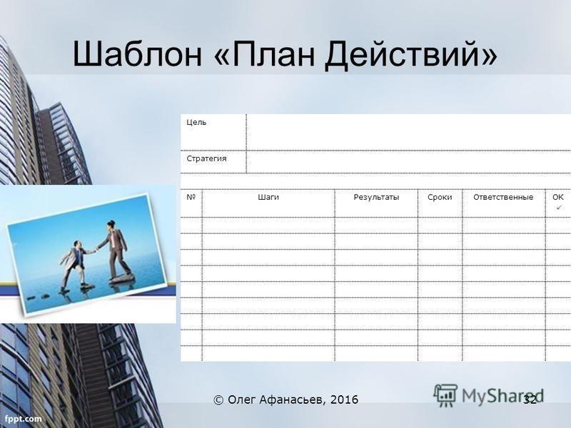 Шаблон «План Действий» © Олег Афанасьев, 201632 Цель Стратегия Шаги РезультатыСроки ОтветственныеОК