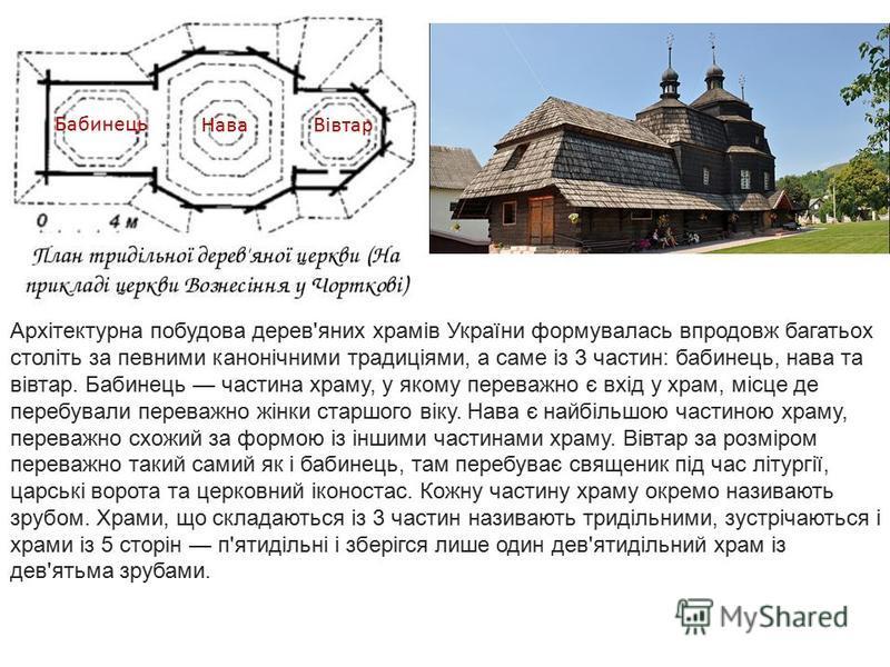 Архітектурна побудова дерев'яних храмів України формувалась впродовж багатьох століть за певними канонічними традиціями, а саме із 3 частин: бабинець, нава та вівтар. Бабинець частина храму, у якому переважно є вхід у храм, місце де перебували перева