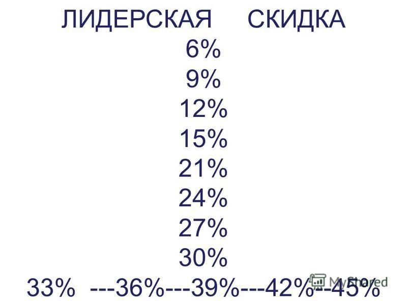 ЛИДЕРСКАЯ СКИДКА 6% 9% 12% 15% 21% 24% 27% 30% 33% ---36%---39%---42%--45%