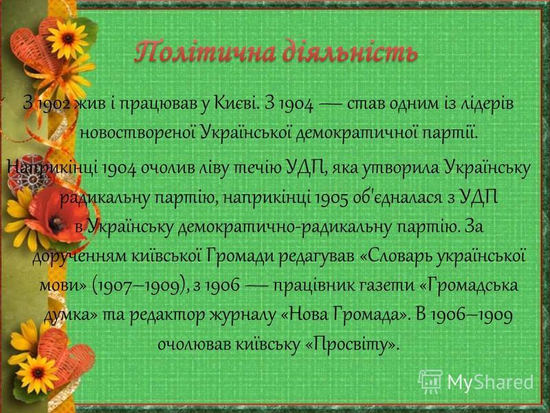З 1902 жив і працював у Києві. З 1904 став одним із лідерів новоствореної Української демократичної партії. Наприкінці 1904 очолив ліву течію УДП, яка утворила Українську радикальну партію, наприкінці 1905 об'єдналася з УДП в Українську демократично-