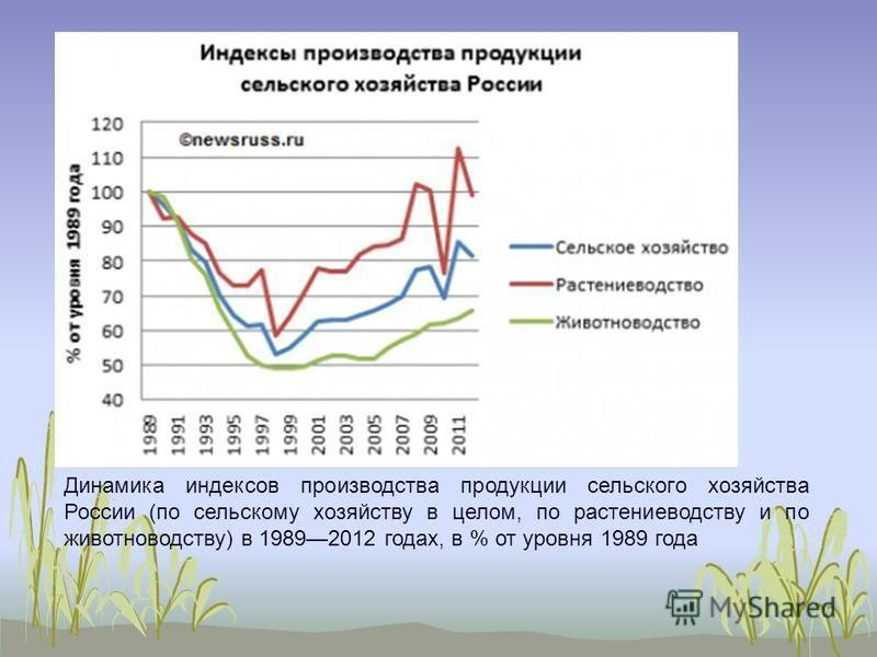 Динамика индексов производства продукции сельского хозяйства России (по сельскому хозяйству в целом, по растениеводству и по животноводству) в 19892012 годах, в % от уровня 1989 года