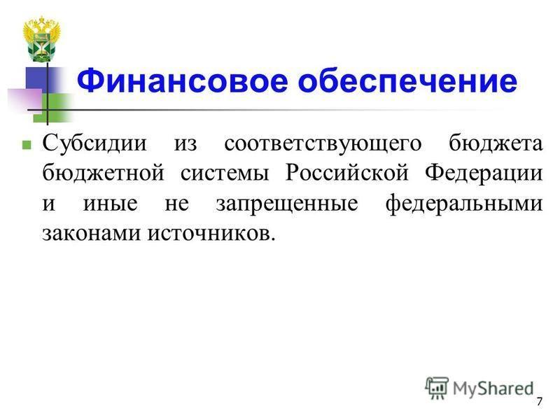 Финансовое обеспечение Субсидии из соответствующего бюджета бюджетной системы Российской Федерации и иные не запрещенные федеральными законами источников. 7