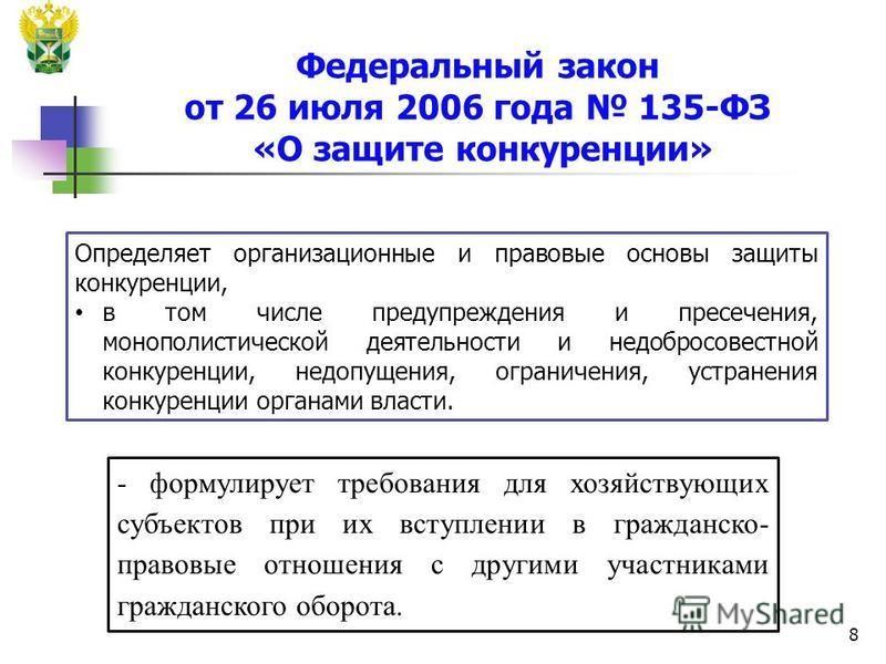 8 Федеральный закон от 26 июля 2006 года 135-ФЗ «О защите конкуренции» Определяет организационные и правовые основы защиты конкуренции, в том числе предупреждения и пресечения, монополистической деятельности и недобросовестной конкуренции, недопущени